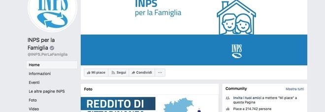 La pagina Facebook di Inps