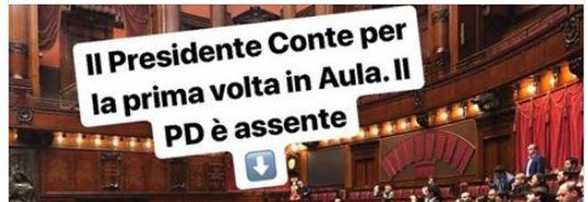 Gaffe del deputato M5S: «Pd assente mentre parla Conte». E posta la foto della Camera, ma il premier è in Senato