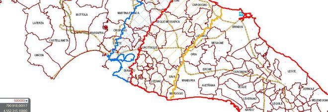 Mappa aggiornata dell'espansione della xylella in Puglia