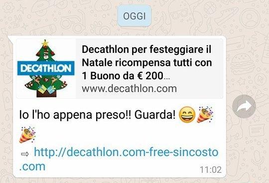 Attenzione ai falsi buoni sconto Decathlon: la truffa corre su WhatsApp